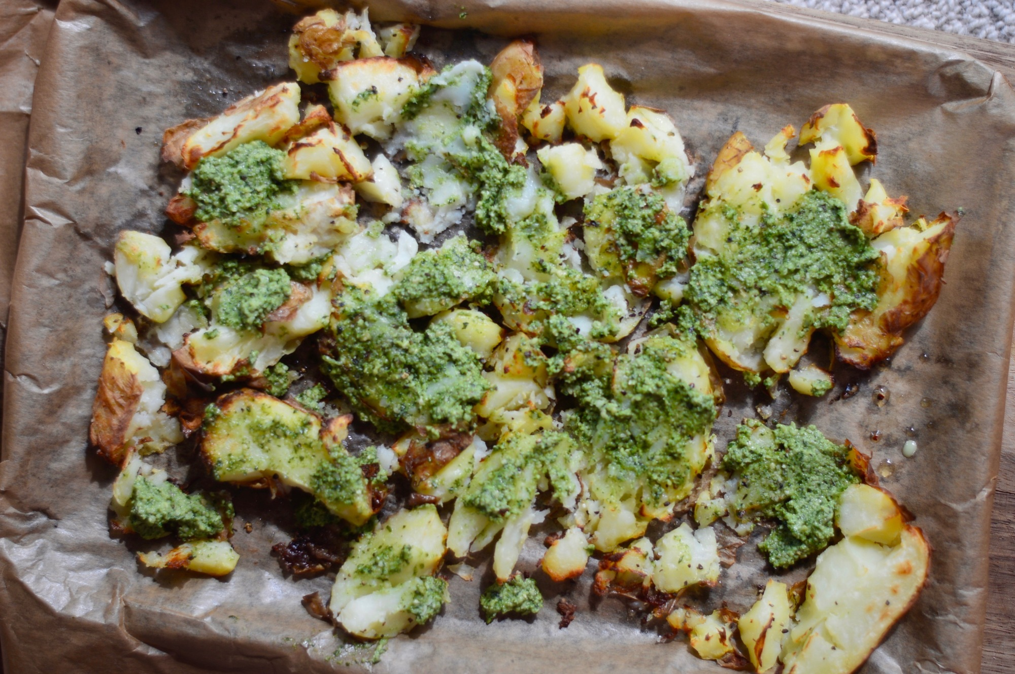 Stacey Hogan Smashed Potatoes Pesto