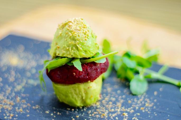Stacey Hogan - Beetroot burger in an avocado bun